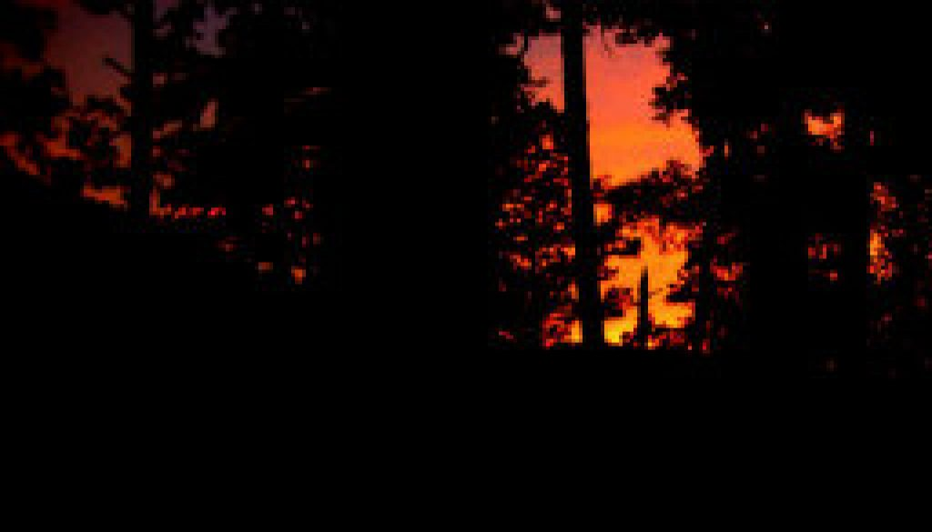 Sunset from Whispering Pines cabin featured