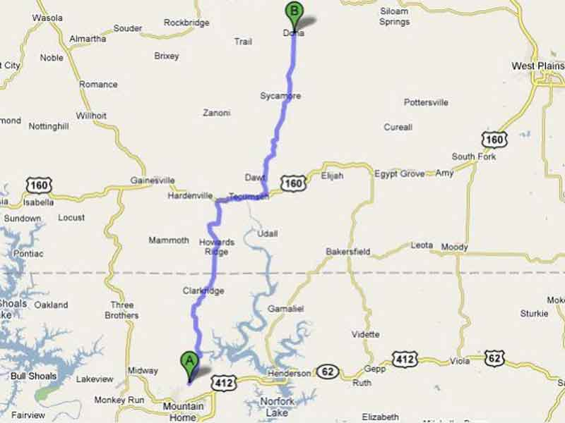 Mountain Grove, AR to River of Life Farm directions map