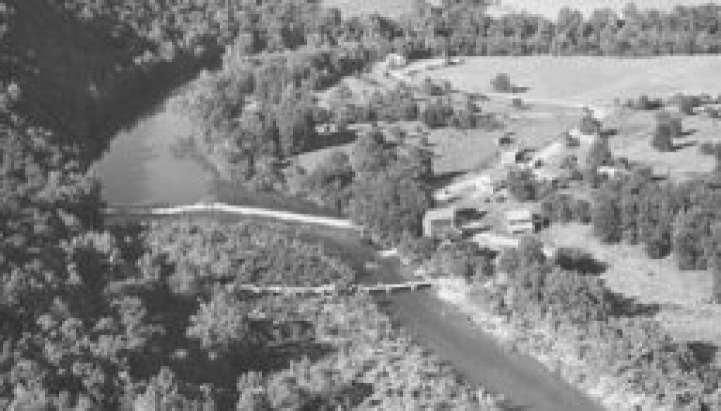 Dawt Mill aerial view and downstream view 1947 featured