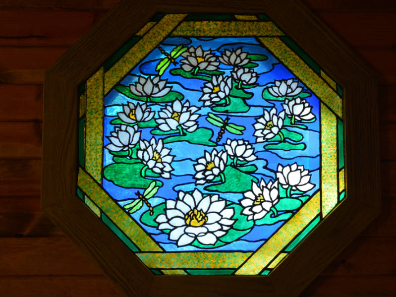 River Lighthouse Stained Glass Window