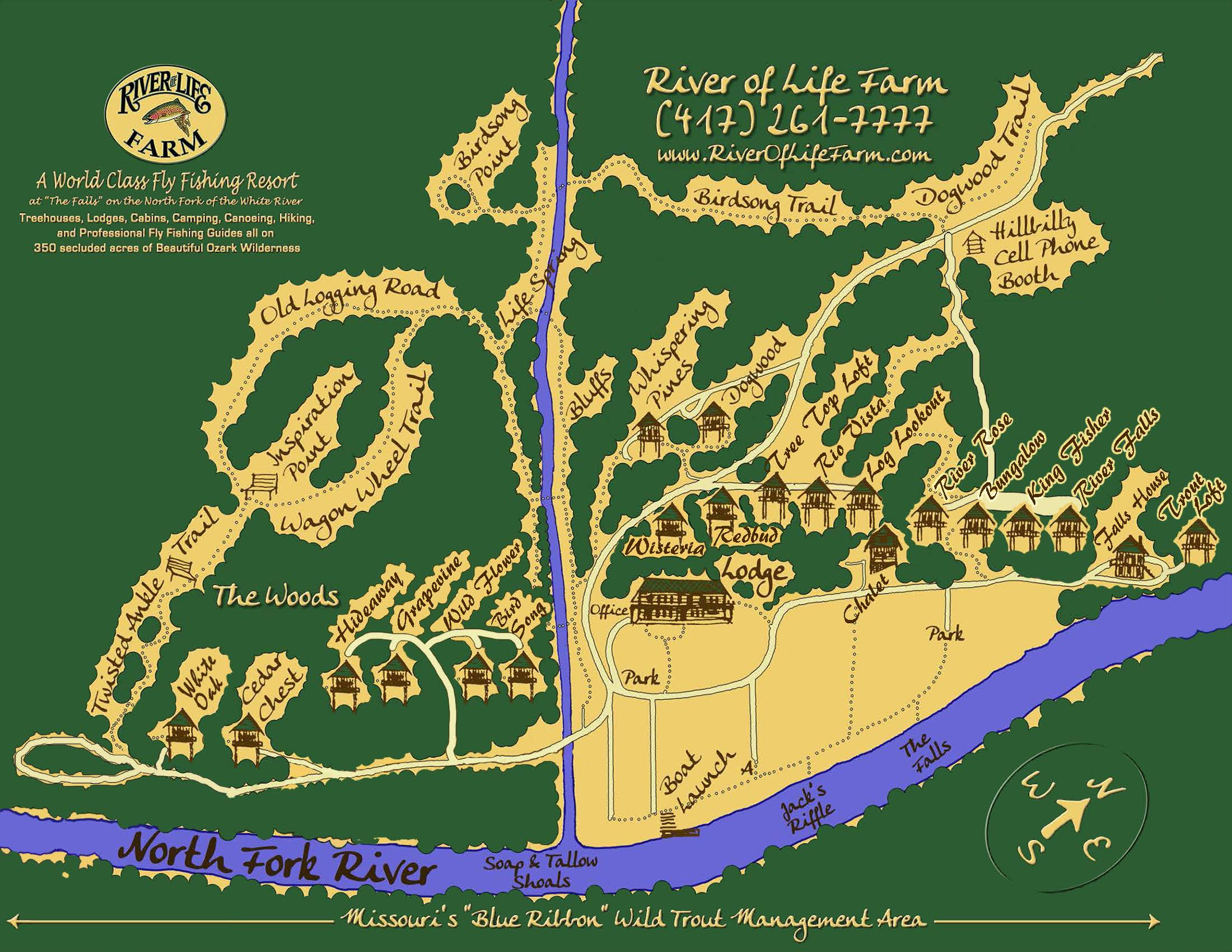 River of Life Farm Cabins Map