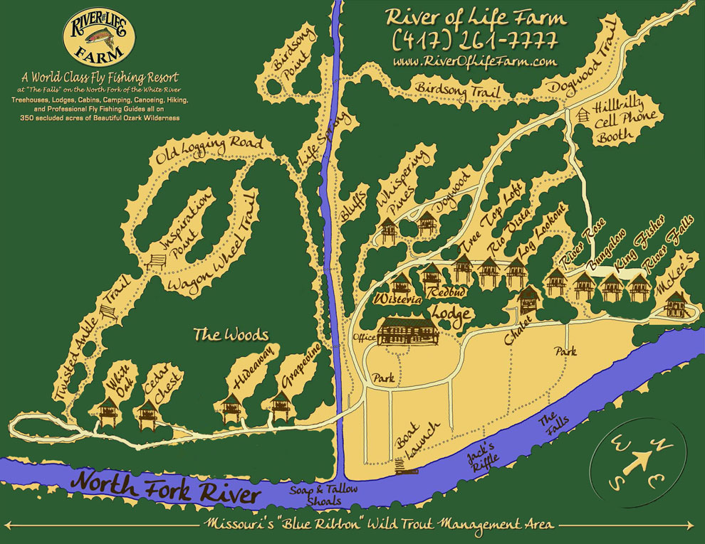 River of Life Farm Cabin Map