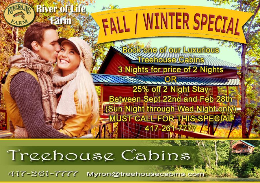 Missouri Fall Winter Treehouse special