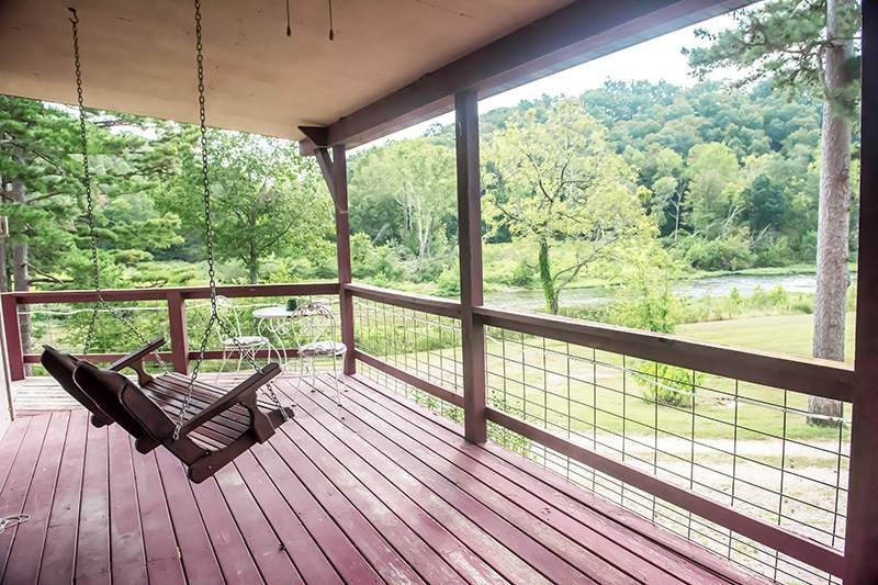 Deck swing over looking the North Fork of the White River